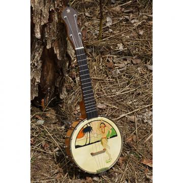 Custom 1920s Unmarked Hawaiian-decal Openback Banjo Ukulele