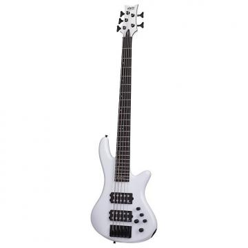 Custom Schecter 2482 5-String Stiletto Stage Bass Guitar, Gloss White
