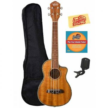 Custom Oscar Schmidt OU6LCE Hawaiian Koa Acoustic-Electric Tenor Ukulele w/ Gig Bag