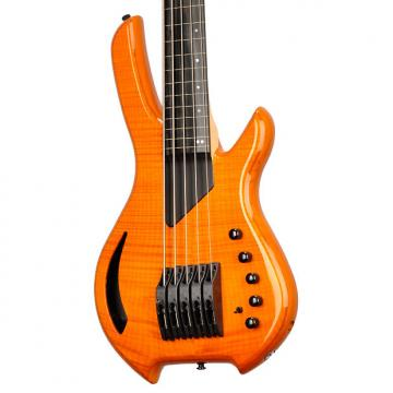 Custom Willcox Guitars Saber Bass 5 Fretless Amber Flame Maple - #S120110662 - 7.6 pounds