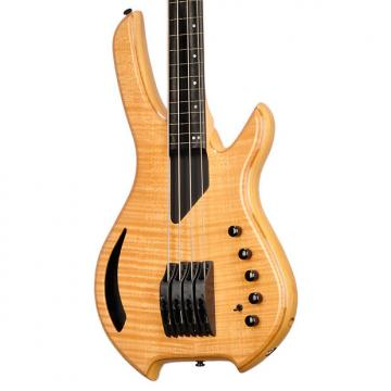 Custom Willcox Guitars Saber Bass 4 Fretless Natural Flame Maple - #S120110617 - 6.7 pounds