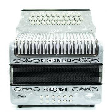 Custom Hohner Corona II Classic FBbEb Accordion White