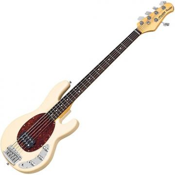 Custom Sterling by Music Man Ray35CA Classic Active Electric 5-String Bass Vintage Cream Finish with Gig Ba