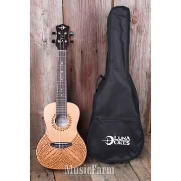 Custom Luna UKE TAPA CDR Concert Acoustic Electric Ukulele Solid Cedar Top with Gig Bag