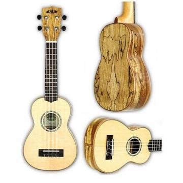 Custom Kala Soprano Ukulele, Gloss Spruce Top, Flame Spalted Maple Back & Sides, KA-FMSG