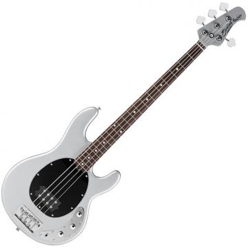 Custom Sterling by Music Man Ray34CA Classic Active Electric Bass Silver Metallic Finish with Gig Bag