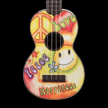 Custom Kala Ukadelic Soprano Ukulele - Peace Love