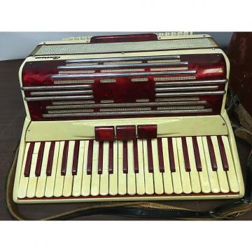 Custom Camerano Accordion 1940's - 1950's White/Red