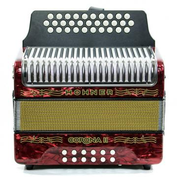 Custom Hohner Corona II FBbEb Accordion Red