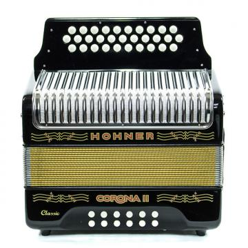 Custom Hohner Corona II Classic FBbEb Accordion Black