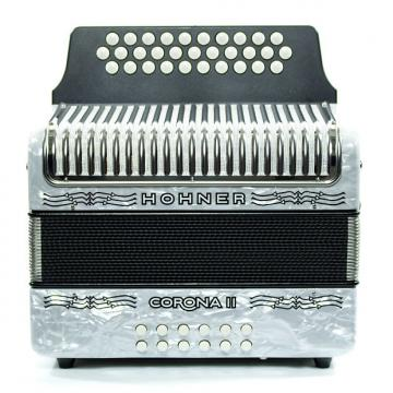 Custom Hohner Corona II GCF Accordion White