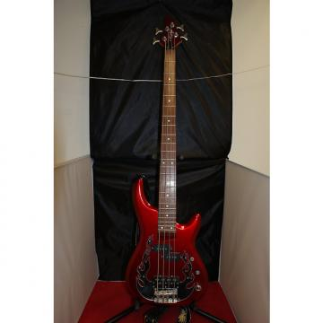 Custom OLP  4 String Electric Bass Red with Silver Flames