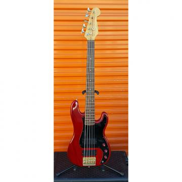 Custom Fender Squire Jazz Bass Five String custom 1990's red with brass tail and soft case