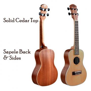 "Custom Solid Cedar Top  24"" Concert Ukulele Natural Satin Finish"