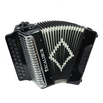 Custom Excalibur Super Classic PSI 2 Row - Button Accordion - Black - Key of DG