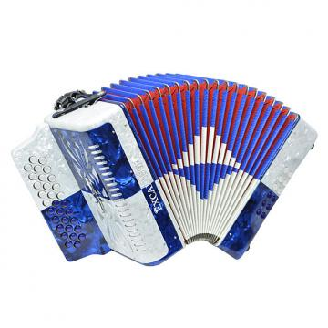 Custom Excalibur Super Classic PSI 3 Row - Button Accordion - Blue/White - Key of FBE