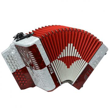 Custom Excalibur Super Classic PSI 3 Row - Button Accordion - Red/White - Key of FBE