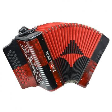 Custom Excalibur Super Classic PSI 3 Row - Button Accordion - Red/Black - Key of FBE