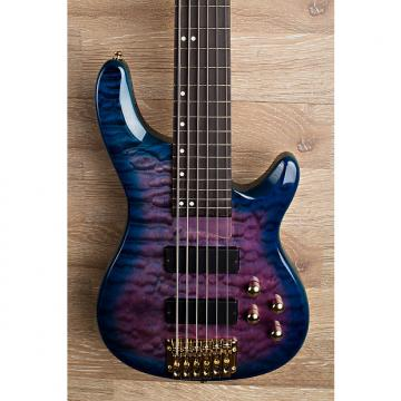 Custom 2017 Wolf KTB-6 Blue Burst 6 String Bass