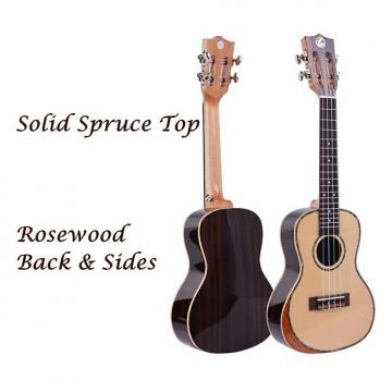 "Custom Solid Spruce 24"" Concert Ukulele w/Comfort Edge Maple Arm Rest & Free Gig Bag"