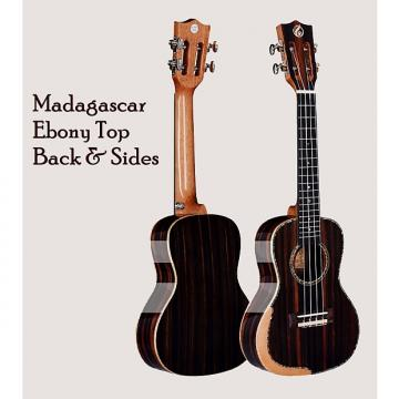 "Custom Madagascar Ebony 24"" Concert Ukulele w/Comfort Edge Maple Arm Rest & Free Gig Bag"
