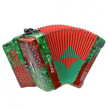 Custom Excalibur Super Classic PSI 3 Row Button Accordion - Red/Green - Key of FBE