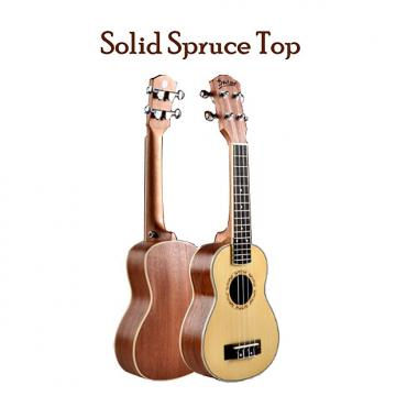 "Custom Beautiful Solid Spruce Top 21"" Soprano Ukulele w/Natural Satin Finish- Setup for Easy Play"