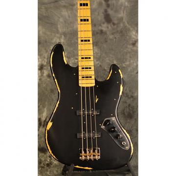 Custom Vintage VJ74 Icon Series Black Relic Distressed Jazz Bass w Wilkinson Hardware & Deluxe Gigbag FREE
