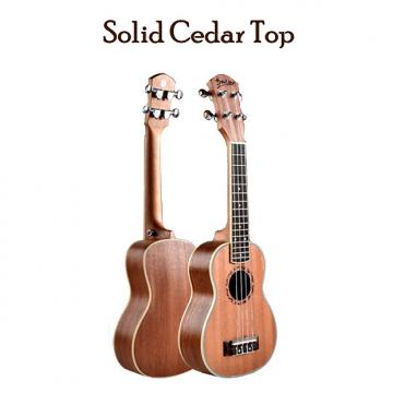 "Custom Beautiful Solid Cedar Top 21"" Soprano Ukulele w/Natural Satin Finish- Upgraded & Setup for Easy Play"