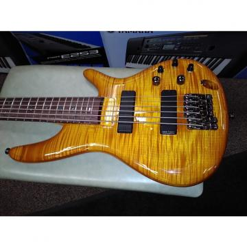 Custom Ibanez GVB36AM 6 String Bass Guitar Flame Top (Blem) Amber Burst