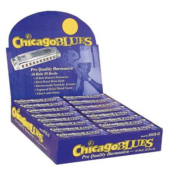 Custom Chicago Blues KHCB-32A Harmonica Assortment Display - 32 Harps in the Keys of C, G & A