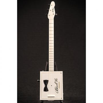 Custom St. Blues 4 String Cigar Box Guitar - Black Tie 2017 Black/White