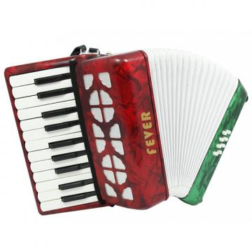 Custom Fever Piano Accordion 22 Keys 8 Bass, Red, White, Green