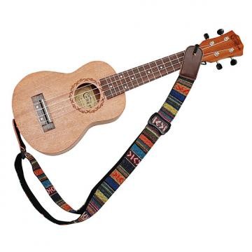Custom MUSIC FIRST Classic Country style Soft Cotton & Genuine Leather Ukulele Strap Uk