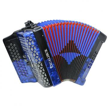 Custom Excalibur Super Classic PSI 3 Row Button Accordion - Blue/Black -  Key of GCF