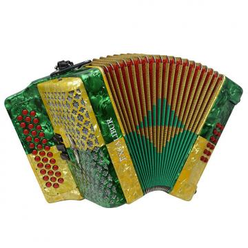 Custom Excalibur Super Classic PSI 3 Row Button Accordion - Gold/Green -  Key of FBE