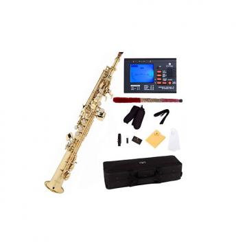 Custom Mendini by Cecilio MSS-L+92D Gold Lacquer Straight B Flat Soprano Saxophone with Tuner, Case, Mouthp