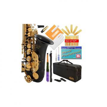 Custom Lazarro Professional Black-Gold Keys Eb E Flat Alto Saxophone Sax, 11 Reeds, Case & Many Extras - 24