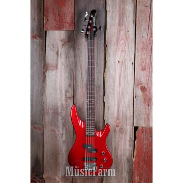 Custom Samick Artist Series Double Cut Solid Body 5 String Bass Electric Guitar Red
