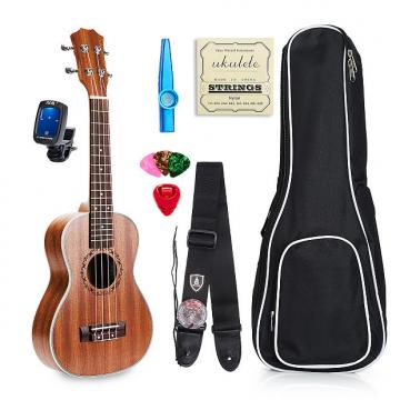 "Custom Vangoa 23"" Mahogany Concert Ukulele Aquila Strings+Nylon Strap+Pick+Pick  Container+Carry Bag+Aroma"