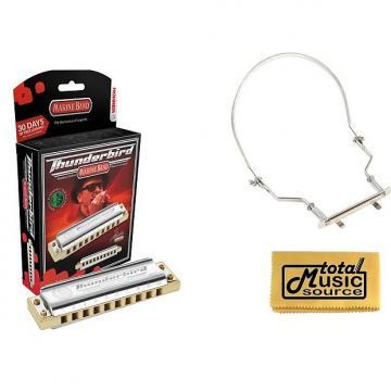Custom HOHNER Marine Band THUNDERBIRD Harmonica w/ Case, Key LOW F, Germany, Case & Harmonica Holder, M2011L-F PACK