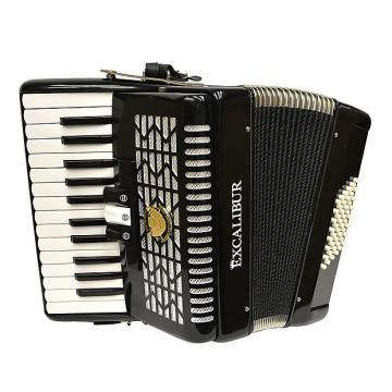 Custom Excalibur Super Classic Ultright 48 Bass Piano Accordion 2016 Ebony Polish