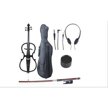 Custom Cecilio 4/4 CECO-1BK Black Metallic Electric Cello with Ebony Fittings in Style 1 (Full Size)