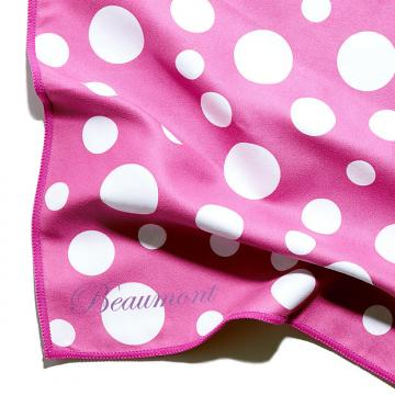 Custom Beaumont Microfibre Cleaning Cloth - Pink Polka Dot - Flute, Clarinet, Sax and Brass Polishing
