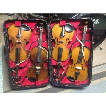 Custom Antique Violin Collection in quadruple violin case! Full Size and ready to play! Turn of the century
