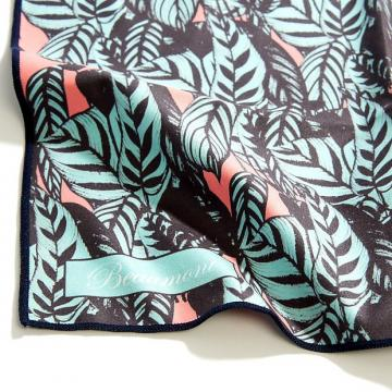 Custom Beaumont Microfibre Cleaning Cloth - Tropical Leaves - Flute, Clarinet, Sax and Brass Polishing