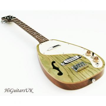 Custom HiGuitarsUK Long Scale Semi-Solid Electric Baritone Ukulele. Natural / Stained Green Top