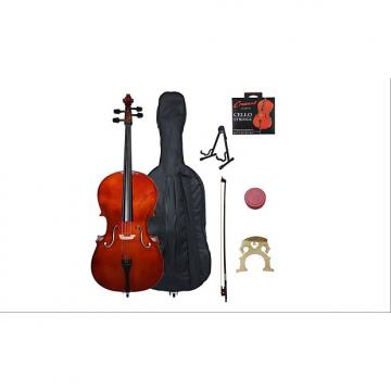 Custom Crescent 4/4 Beginner Cello Starter Kit - Natural Wood Color (Bag, Bow, Accessories & STAND)