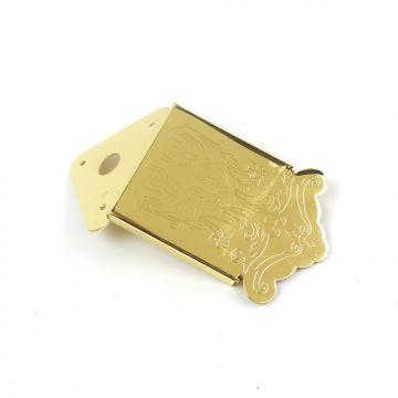 Custom Mandolin or Cigar Box Guitar Tailpiece With Cover ,Ornate Pattern Gold Plated