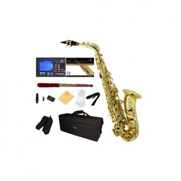 Custom Mendini by Cecilio MAS-L+92D+PB Gold Lacquer E Flat Alto Saxophone with Tuner, Case, Mouthpiece, 10